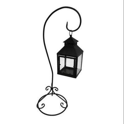 Zeckos Black Metal Coach Style Candle Lantern On Shepherds Hook Stand