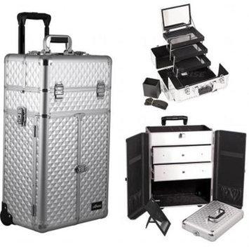 Sunrise Books Sunrise Outdoor Travel Silver Diamond Trolley Makeup Case - I3566