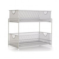 Grayline Satin Nickel Two-Tier Mesh Basket Organizer