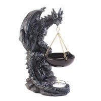 Zingz & Thingz Gothic Dragon Polyresin and Glass Tealight Oil Warmer
