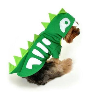 Anit Accessories AP1079-XS Green Skeleton Dinosaur Dog Costume - Extra Small