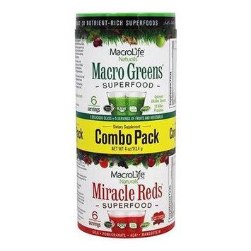 MacroLife Naturals - Miracle Reds and Macro Greens Superfood Combo Pack - 4 oz.