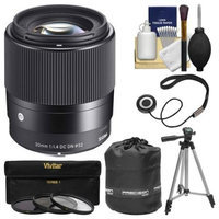 Sigma 30mm f/1.4 Contemporary DC DN Lens (for Olympus/Panasonic Micro 4/3 Cameras) with 3 UV/CPL/ND8 Filters + Lens Pouch + Tripod + Kit