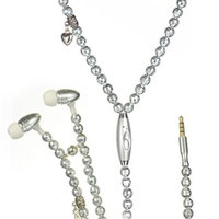Necklace Headphones with Microphone & Disco Bead Cord