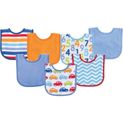 Baby Vision Luvable Friends 7 Pack Bright Print Baby Bibs - Blue