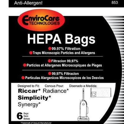 Envirocare Riccar Radiance HEPA Vacuum Cleaner Bags, 6 Bags per Package