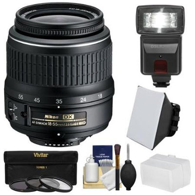 Nikon 18-55mm f/3.5-5.6G II DX AF-S ED Zoom-Nikkor Lens with 3 UV/CPL/ND8 Filters + Flash + Softbox + Bounce Diffuser + Kit