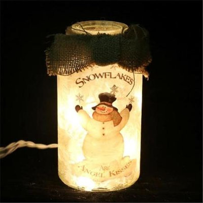 DecorFreak Lighted Glass With Snowman