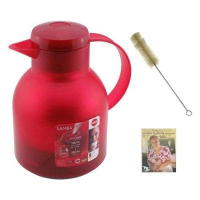 Frieling E504232 Emsa Samba Quick Press Insulated Server Red 34-Ounce + Water Bottle Brush & Paring Knife+ Sheath (Lime Green)