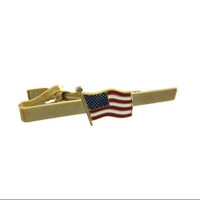 Zeckos Gold Plated American Flag Tie Bar Clip Business