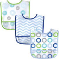 Baby Vision Luvable Friends 3 Pack PEVA Crumbcatcher Bibs - Blue Pinwheel