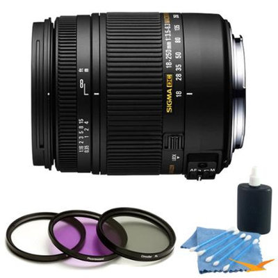 Sigma 18-250mm F3.5-6.3 DC OS Macro HSM Lens for Nikon AF Kit