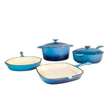 Fancy Cook 6 Pieces Enamel Cast Iron Blue Two Tone Cookware Set