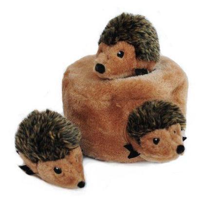 ZippyPaws Zippy Burrows Hedgehog Den - Interactive Squeaky Plush Dog Toys