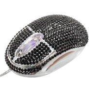 Crystal Case USB Optical Scroll Wheel Black Crystal Rhinestone Computer Mouse
