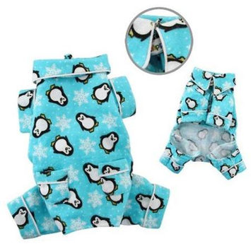 Klippo Pet, Inc Klippo Pet KBD057SZ Penguins & Snowflake Flannel Pajamas With 2 Pockets, Turquoi