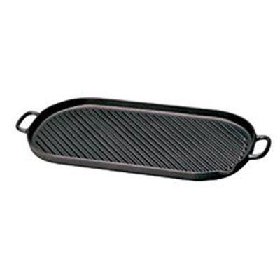 World Cuisine A1733746 Oval Cast Iron Grill - 18.375 Inch Length