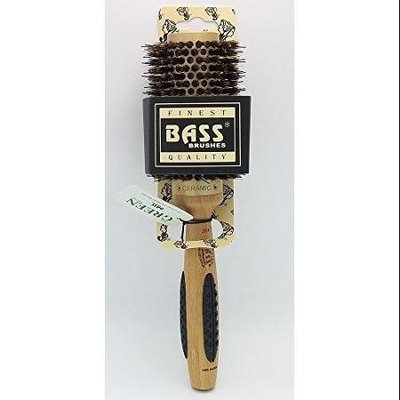 Bass Brushes Medium Round Professional Thermal Hot Curl Brush - Wild Boar / Nylon Light Wood