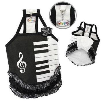 Klippo Pet, Inc Klippo Pet KDR058LZ Adorable Piano Dress With Ruffles - Large