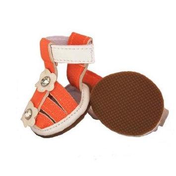 Overstock Pet Life Orange Flower Waterproof Dog Sandals (Set of 4)