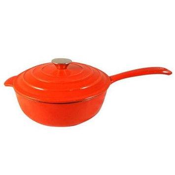 Le Chef Enamel Cast Iron Orange Sauce Pan 3-Qt.