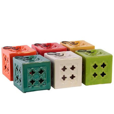 Urban Trends Collection 50862-AST Ceramic Square Tea Light Lantern With Metal Handle - Small Assorted Color