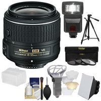 Nikon 18-55mm f/3.5-5.6G VR II DX AF-S Zoom-Nikkor Lens with 3 UV/CPL/ND8 Filters + Tripod + Flash + Soft Box + Diffusers + Kit