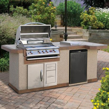 Calflame 96 BBQ Island 4 Burner Gas Grill with Side Bar