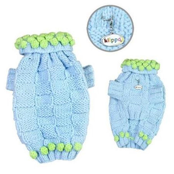 Klippo Pet, Inc Klippo Pet KSW104MZ Square Knit Turtleneck Sweater With Pompoms - Hand Knitted