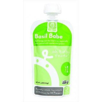 Oh Baby Foods Organic Baby Food - Puree - Level 1 - Basil Babe - 4 oz, (Pack of 6)