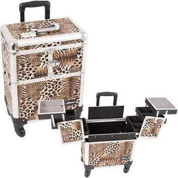 Sunrise E6304LPBR Leopard Brown Rolling Beauty Case