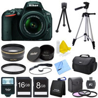 Nikon D5500 Black DSLR Camera 18-55mm Lens, Wide Lens, Converter, and Flash Bundle