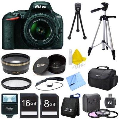 Nikon D5500 Black DSLR Camera 18-55mm Lens, Wide Lens, Converter, and Flash Bundle