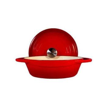 Fancy Cook Light Enamel Cast Iron Red Round Casserole 2.75 Quart