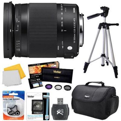 Sigma 18-300mm F3.5-6.3 DC Macro OS HSM Lens (Contemporary)for Canon EF Cameras Bundle