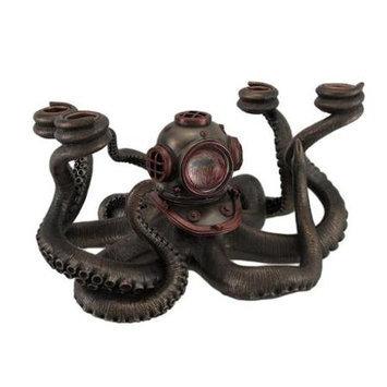 Zeckos Incredibly Cool Steampunk Diver Octopus 4 Candle Candelabra