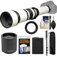 Vivitar 650-1300mm f/8-16 Telephoto Lens (White) (T Mount) with 2x Teleconverter (=2600mm) + NP-FW50 Battery + Monopod + Kit