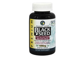 Amazing Herbs - Black Seed 100 Pure Cold-Pressed Oil 1250 mg. - 60 Softgels