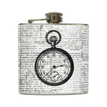 Tick Tock - Liquid Courage Flasks - 6 oz. Stainless Steel Flask