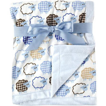 Baby Vision Hudson Baby Sheep Printed Blanket w/ Plush Backing, Blue