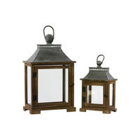 Urban Trends Wood Lantern with Metal Top and Ring Handle Set of Two Dark Stained Wood Finish