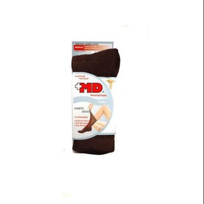 Md Usa Seamless Comfort Seamless Toe Diabetic Crew Socks, Black, Medium