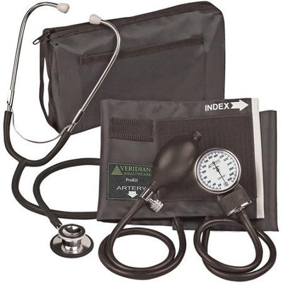 Veridian Healthcare ProKit Aneroid Sphygmomanometer with Dual-head Stethoscope Kit - Color: Black
