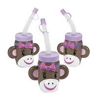 Fun Express 13614008 Plastic Miss Sock Monkey Molded Cups