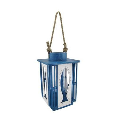 Zeckos Cutout Blue and White Fish Candle Lantern