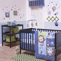 Belle Jungle Jamboree 3-pc. Crib Bedding Set (Blue)