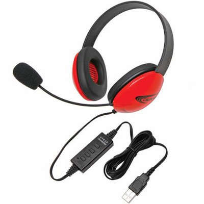 Victory Multimedia Califone Red Stereo Headphone w/ Mic USB Connector