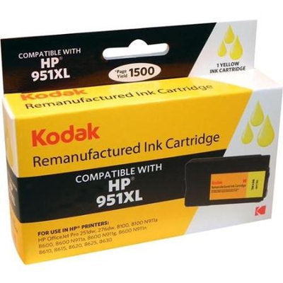 Ereplacements Kodak Remanufactured Ink Cartridge Hp 951 Xl Yellow Compatible With Hp Officejet Pro 8100/ 8600 Yellow - Inkjet - High Yield - 1500 Page (cn048an-kd)