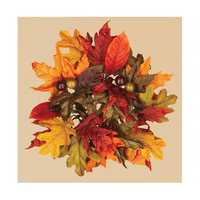 Oddity, Inc. Oddity Inc. 39976 3 in. Fall Maple and Magnolia Leaves Candle Ring - Pack of 2