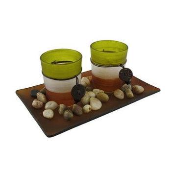 Zeckos 3 Piece Glass Votive and Tealite Candle Garden